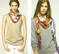 Hermes - love the additional tie detail, which also adds weight to keep the scarf in place.