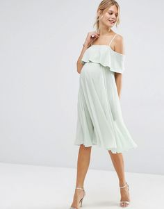 Browse online for the newest ASOS Maternity Cold Shoulder Midi Dress styles. Shop easier with ASOS' multiple payments and return options (Ts&Cs apply). Summer Maternity Fashion, Stylish Maternity, Maternity Dresses Summer, Dresses For Pregnant Women, Baby Shower Dresses, Summer Baby Shower Dress, Pregnancy Outfits, Maternity Outfits, Maternity Style