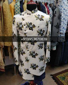 Men Designer Indowestern Sherwani Worldwide Delivery WhatsApp : Designs Available Mens Indian Wear, Indian Groom Wear, Indian Men Fashion, Mens Fashion Wear, Mens Fashion Blog, Wedding Outfit For Boys, Wedding Dress Men, Indian Wedding Outfits, Wedding Men
