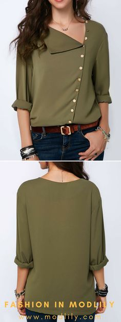 Roll Sleeve Button Detail Army Green Blouse On Sale. Shop special blouse at Modlily. Go now!