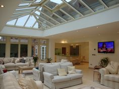 Orangeries UK design & manufacture bespoke Orangery and Conservatory extensions. An orangery is a conservatory like structure that originates from the Renaissance gardens in Century Italy. Lantern Roof Light, Bungalow Conversion, Shower Suites, Conservatory Design, Timber Roof, Roof Window, Flat Roof, Skylight, Home Interior Design