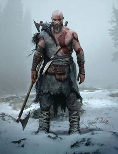 View an image titled 'Kratos Concept 2 Art' in our God of War art gallery featuring official character designs, concept art, and promo pictures. Viking Art, Viking Warrior, Vikings, Fantasy Armor, Medieval Fantasy, Game Character Design, Character Art, Viking Character, Kratos God Of War