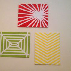 Easy wall art with just canvas, masking tape and paint!