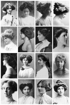 "thevintagethimble: "" Edwardian Hairstyles A collection of Edwardian photographs, depicting some of the hairstyles of the time, like the Low Pompadour. Hatpin Hairstyle. Side-Swirls. Flapper (The title..."