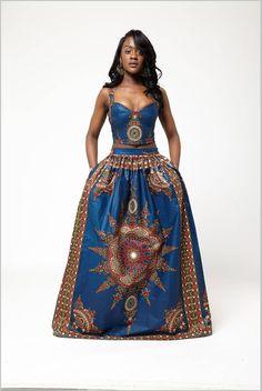 Blue Dasmina Set by Grassfieldss on Etsy ~African fashion, Ankara, kitenge, Kente, African prints, Senegal fashion, Kenya fashion, Nigerian fashion, Ghanaian fashion ~DKK