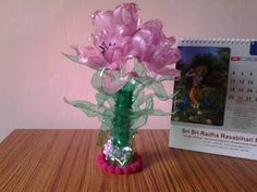Best Out of Waste Plastic Bottles transformed to Pretty Pink Flowers Sho...