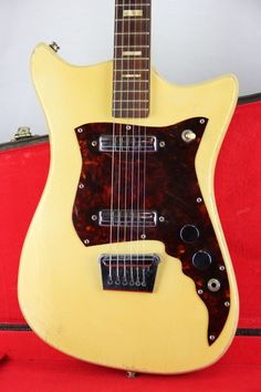 1960'S VINTAGE ALAMO TITAN DOUBLE PICKUP ELECTRIC GUITAR **BLONDE** WITH CASE #ALAMO