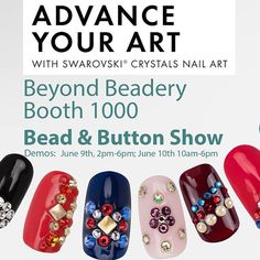 The famous Bead & Button show is back in Milwaukee, Wisconsin in June andI'll be demoing Swarovski nail art on June 9th and 10th. Stop by booth 1000, Beyond Beadery for the latest on natural nails or enhancements. Tips for nail professionals and consumers alike. Stock up on supplies! #beadandbuttonshow #nailartdemos #swarovski #beyondbeadery #hillaryfrynails #nailart #nails #milwaukeenailartist #mikwaukee #wisconsincenter