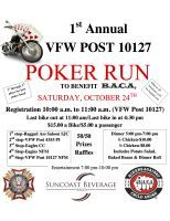 N. Fort Myers, FL - Oct. 24, 2015: 1st Annual VFW Poker Run to Benefit B.A.C.A. (Bikers Against Child Abuse).