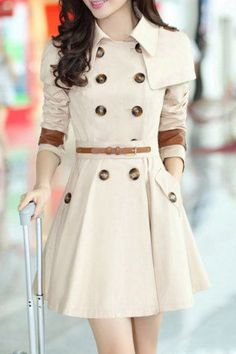 Stylish Turn-Dowm Collar Long Sleeve Double-Breasted With Belt Women's Trench CoatCoats | RoseGal.com