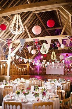 Pink barn wedding with british & flamingo details! photo by shelldemar.com...don't care so much for the british flags but really like this :)