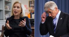 Kirsten Gillibrand (left) and Chuck Hagel are shown. | AP Photo/Getty