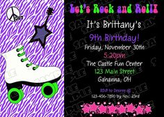 Roller skate rock and roll invitation by greenmelonstudios on Etsy, $9.50