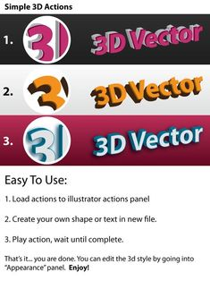 Buy Vector - Illustrator Actions Pack by DESIGN-KING on GraphicRiver. Hello All, Here's a simple vector actions pack that will allow you to change your simple graphic into cool looking. 3 D, 3d Text, Ai Illustrator, Action, Create Your Own, Character Design, Packing, Logos, Simple