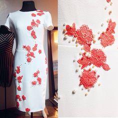 Ivory crepe dress w/ lace & pearl detail... #nericbeltran #weddings #fashion #chic #glam #madetomeasure neric_b@yahoo.com