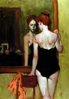 Malcolm Liepke - Girl in front of a mirror 1985