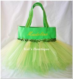Monogrammed Tutu Tote Bag for a Disney Tinker Bell by kidsbowtique, $33.95