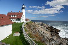 灯台, ポートランド, メイン, 海, 岸, 水, 風景, 自然