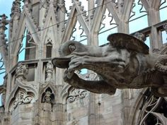 Gargoyle from the Duomo di Milano cathedral in Milan, Italy.