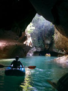 Cave kayaking in Belize