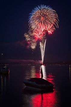 Fireworks from the 4th July over West Bay Grand Traverse Bay, Traverse City, Michigan