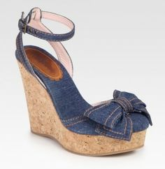 RED Valentino Bow Sandal Blue Wedges $151