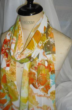 Handmade  Leaf Print Scarf by WildeNature on Etsy