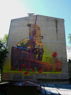 Polish graffiti artists Sainer and Bezt, also known as Etam Cru, paint huge street art murals on tall buildings, brightening the dull city walls. 3d Street Art, Murals Street Art, Street Art Utopia, Best Street Art, Graffiti Wall, Art Mural, Street Art Graffiti, Street Artists, Art Pop