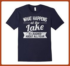 Mens What Happens At The Lake Is Laughed About: Funny Gift Shirt 2XL Navy - Funny shirts (*Partner-Link)