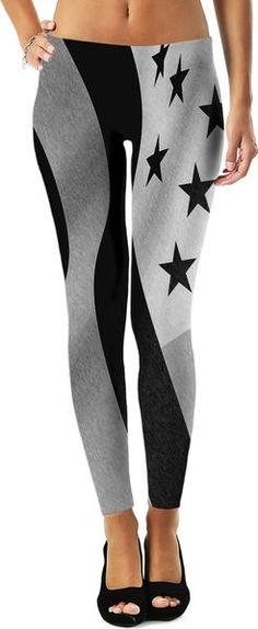 14ae3a5418e6d Patriotic everyday - girls leggings, US flag pencils, America in black  & white