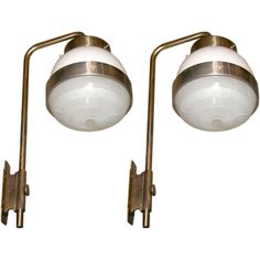 """Pair of """"Delta Parete"""" Wall-Mounted Lanterns by Sergio Mazza   From a unique collection of antique and modern wall lights and sconces at https://www.1stdibs.com/furniture/lighting/sconces-wall-lights/"""
