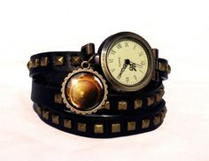 Leather watch bracelet - Eclipse, 0106WBBC from EgginEgg by DaWanda.com