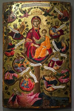 Icon with the Virgin of the Tree of Jesse. 1666 Byzantine and Christian Museum, Athens, Greece. Painted by Theodore Poulakis. Byzantine Icons, Byzantine Art, Religious Icons, Religious Art, Tree Of Jesse, Russian Icons, Madonna And Child, Catholic Art, Orthodox Icons