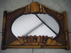 Unusual Art Deco Vintage Bamboo Wall Mirror