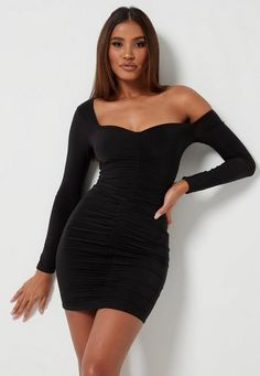 Calling all taller ballers. Shop our missguided tall range, for babes and over. black slinky seam free bardot mini dress with ruched front. Tall Fit Polyester Elastane Noara wears a UK size 8 / EU size 36 / US size 4 Black Dress Outfits, Girl Outfits, Casual Outfits, Black Bodycon Dress, Casual Dresses Uk, Long Sleeve Midi Dress, Little White Dresses, Petite Dresses, Black