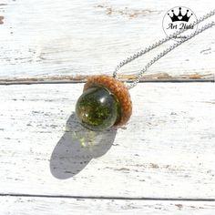 Naszyjnik z żywicy żołądź MECH Jewerly, Pendant Necklace, Handmade Jewelry, Delicate, Store, Unique, Art, Art Background, Jewlery