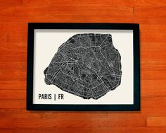 Paris Map Art City Print 18 x 24 by MrCityPrinting on Etsy, $28.00