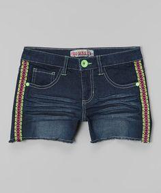 Another great find on #zulily! Dark Denim Tribal Stitch Shorts by Squeeze #zulilyfinds