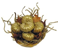 Dollhouse Miniature Golden Pumpkin Display - Handmade 1:12 scale