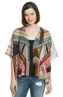 Hippie Laundry Sheer Geometric Print Kimono Cardigan #1960s #60s