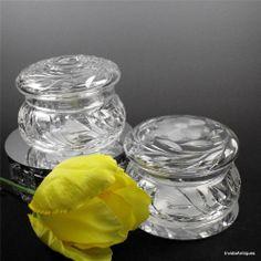 Antique ABP American Brilliant Cut Glass Powder Box Dresser Jar Hair Receiver