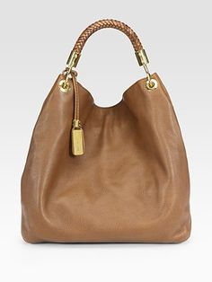 This handbag in cinnamon mimics the Woven Leather T-strap Sandals by Alexandre Birman! Great for a day of some local shopping! #SaksLLTrip  Michael Kors - Large Shoulder Bag - Saks.com