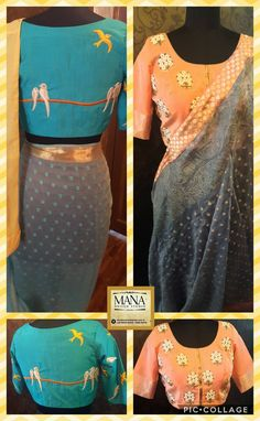 conceptual sarees and Trendy blouses!Who said Sarees cant be fun! Beautiful designer sarees and powder blue color designer blouse with simple elegant hand embroidery thread work. 21 July 2017