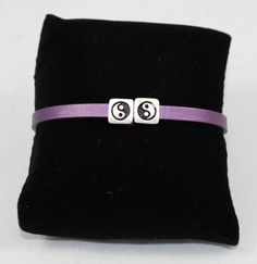 Ying & Yang Bracelet With Purple Leather Band