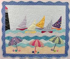 Sunday, July by Cheryl Lynch: Transport yourself to the beach complete with sailboats and beach Applique Patterns, Applique Quilts, Quilt Patterns, Applique Designs, Ocean Quilt, Beach Quilt, Embroidery Designs, Quilting Designs, Small Quilts