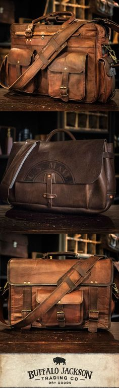 Amazing collection of leather products for men. Impressive quality and attention to detail. Bison leather, traditional leather, vintage, and more. Great rugged vibe. messenger bags | briefcase bags | camera bags | luggage | wallets #watchesformen