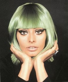 Makeup look from the 1960s.
