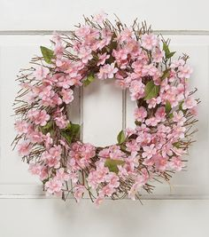 Blooming Spring 22'' Cherry Blossom Twig Wreath-Pink