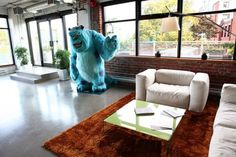 This is the welcome you get at the Canadian offices of Pixar...id hug the monster lol