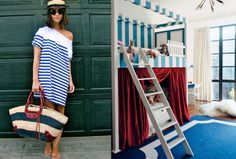 Sail away with me - A Casa da Va #acasadava #nautical #sail #stripes #navy #red #preppy #sailor #colorblocking